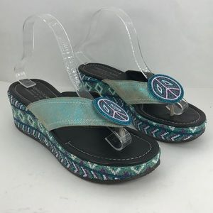 Donald J Pliner turquoise beaded peace wedges